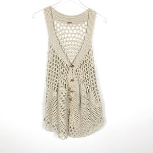 Free People   Sleeveless Crochet Vest Small Tan